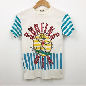 VINTAGE 1970s Surfing USA short sleeve tee